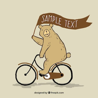 Hand drawn bear riding a bike