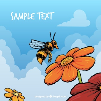 Hand drawn bee and flowers, template