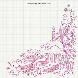 Hand drawn birthday muffin