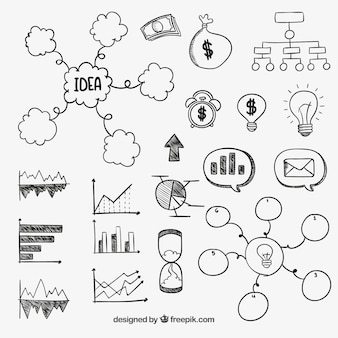 Hand drawn business diagrams