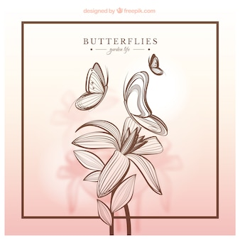 Hand drawn butterflies and flower
