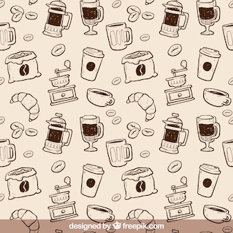 Hand drawn coffee pattern