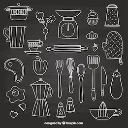 Hand drawn elements for cooking