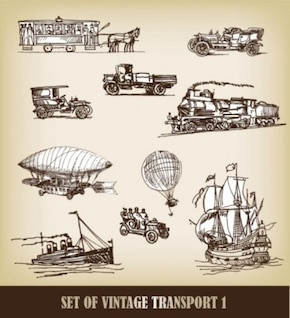 hand drawn european style transport vector pack