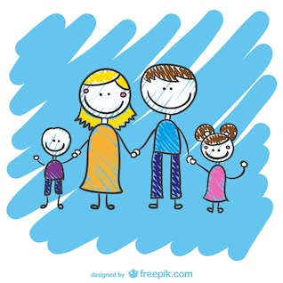 Hand drawn family vector
