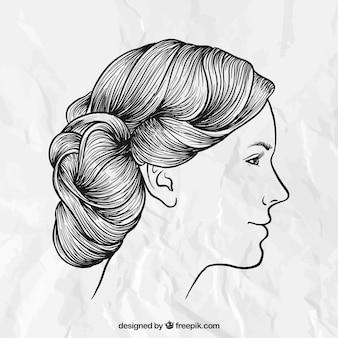 手描きの女性のヘアスタイル