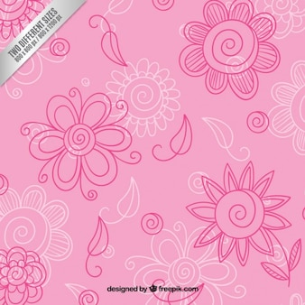 Hand drawn floral background in pink tones