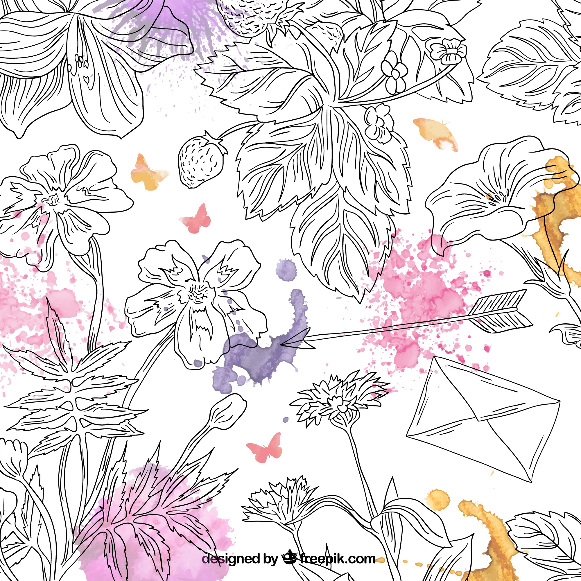 Hand drawn floral background with watercolor splashes