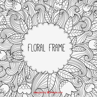 Hand drawn floral frame in doodle style