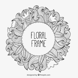 Hand drawn floral frame