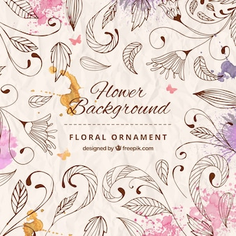 Hand drawn floral ornament background