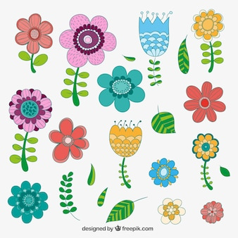 Hand drawn flowers in colorful style