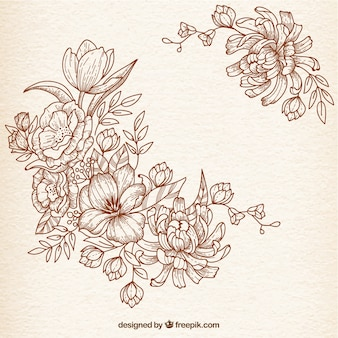 Hand drawn flowers in retro style