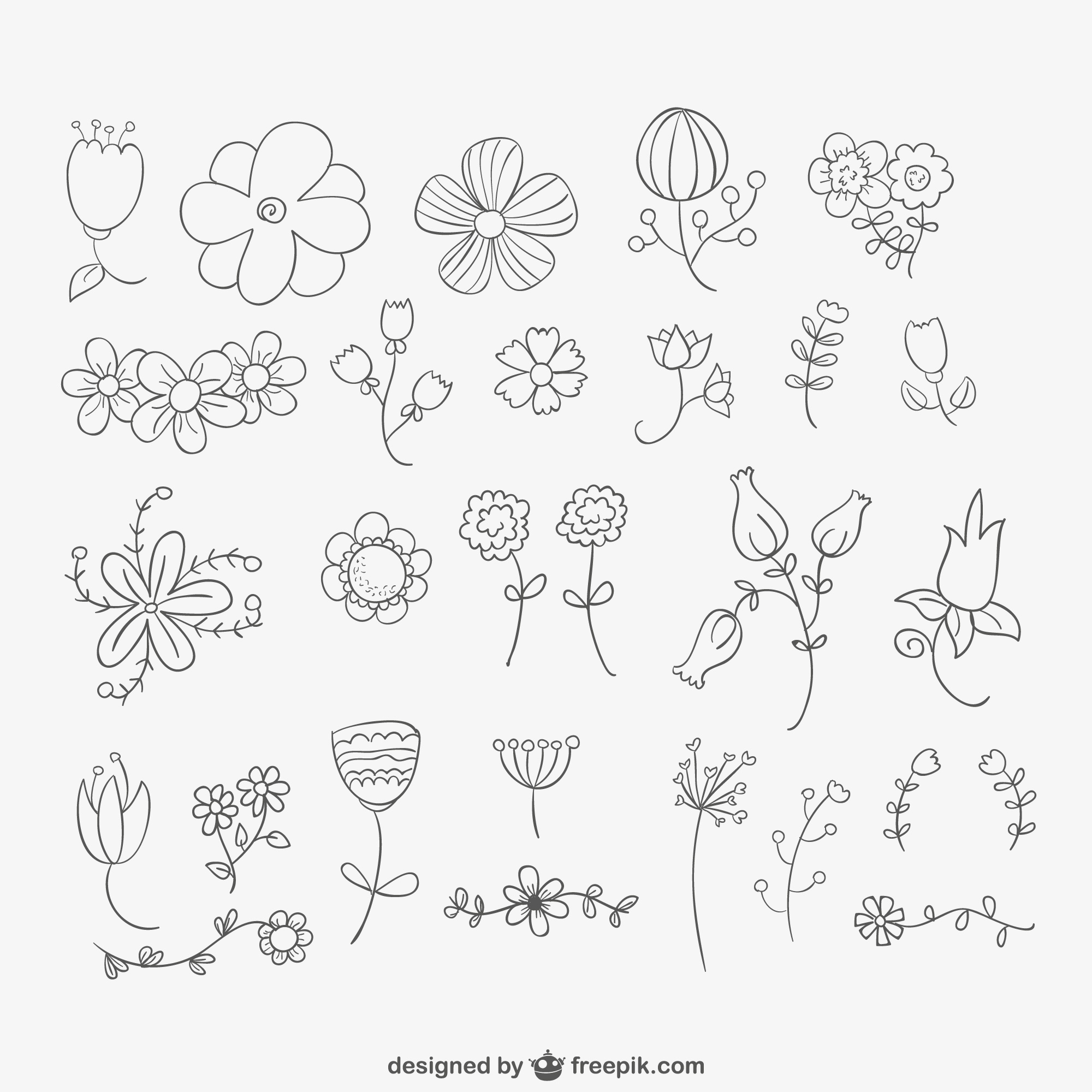 Hand drawn flowers pack