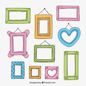 Hand drawn frames in colorful style