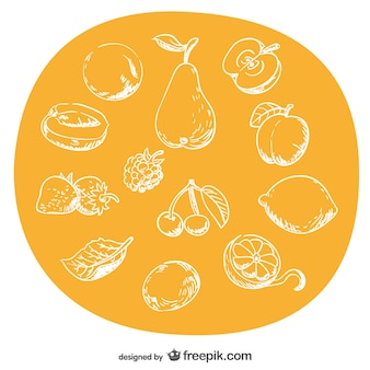 Hand-drawn fruits set