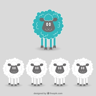 Hand drawn funny sheeps