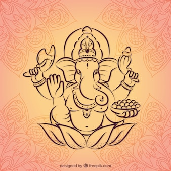 Hand drawn ganesha background