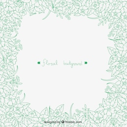 Hand drawn green flowers background