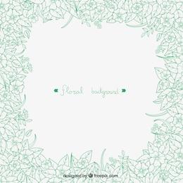 Hand drawn green flowers background