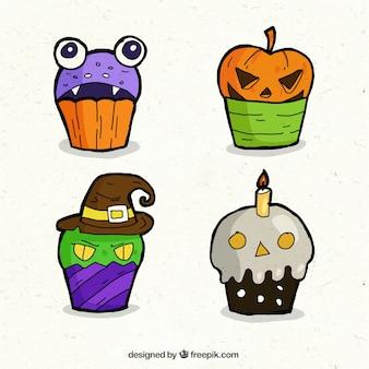 Hand drawn halloween cupcakes