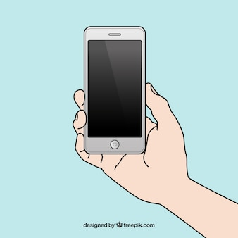 Hand drawn hand with a mobile phone