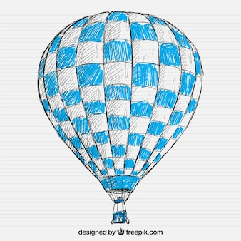 Hand drawn hot air balloon
