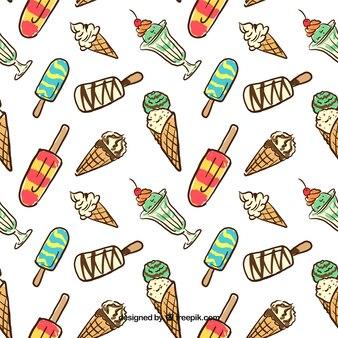 Hand drawn ice creams pattern