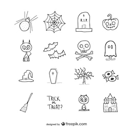 Hand drawn icons pack for halloween