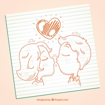 Hand drawn kissing couple