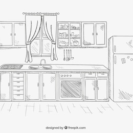 Hand drawn kitchen