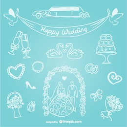 Hand-drawn line art wedding graphics