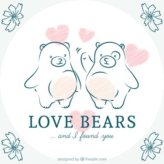 Hand drawn love bears