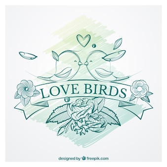 Hand drawn love birds