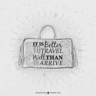 Hand drawn luggage with lettering