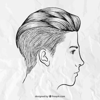 手描き男性のヘアスタイル