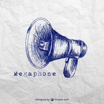 Hand drawn megaphone