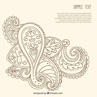 Hand drawn ornamental paisley template