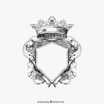 Hand drawn ornamental shield