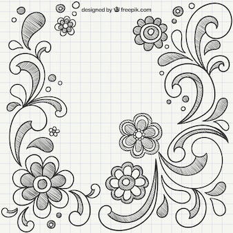 Hand drawn ornaments with flowers