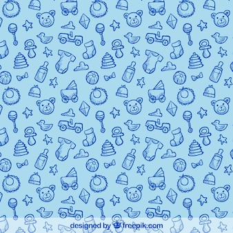 Hand drawn pattern with baby elements