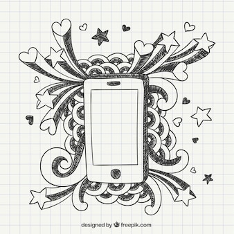 Hand drawn phone on a notebook paper