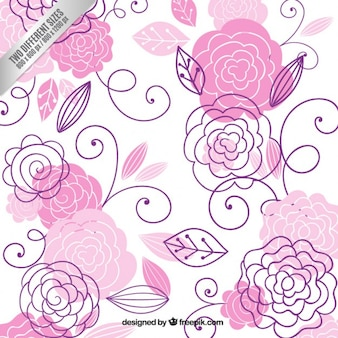 Hand drawn pink flowers background
