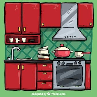 Hand drawn red kitchen