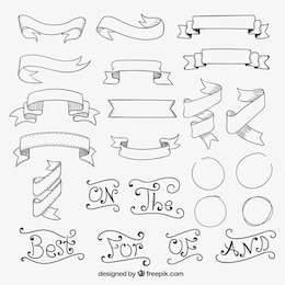 Hand drawn retro ribbons
