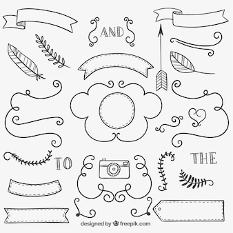 Hand drawn ribbons, ornaments and decorations