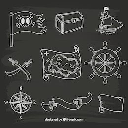 Hand drawn sailor icons