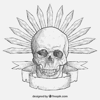 Hand drawn skull with swords