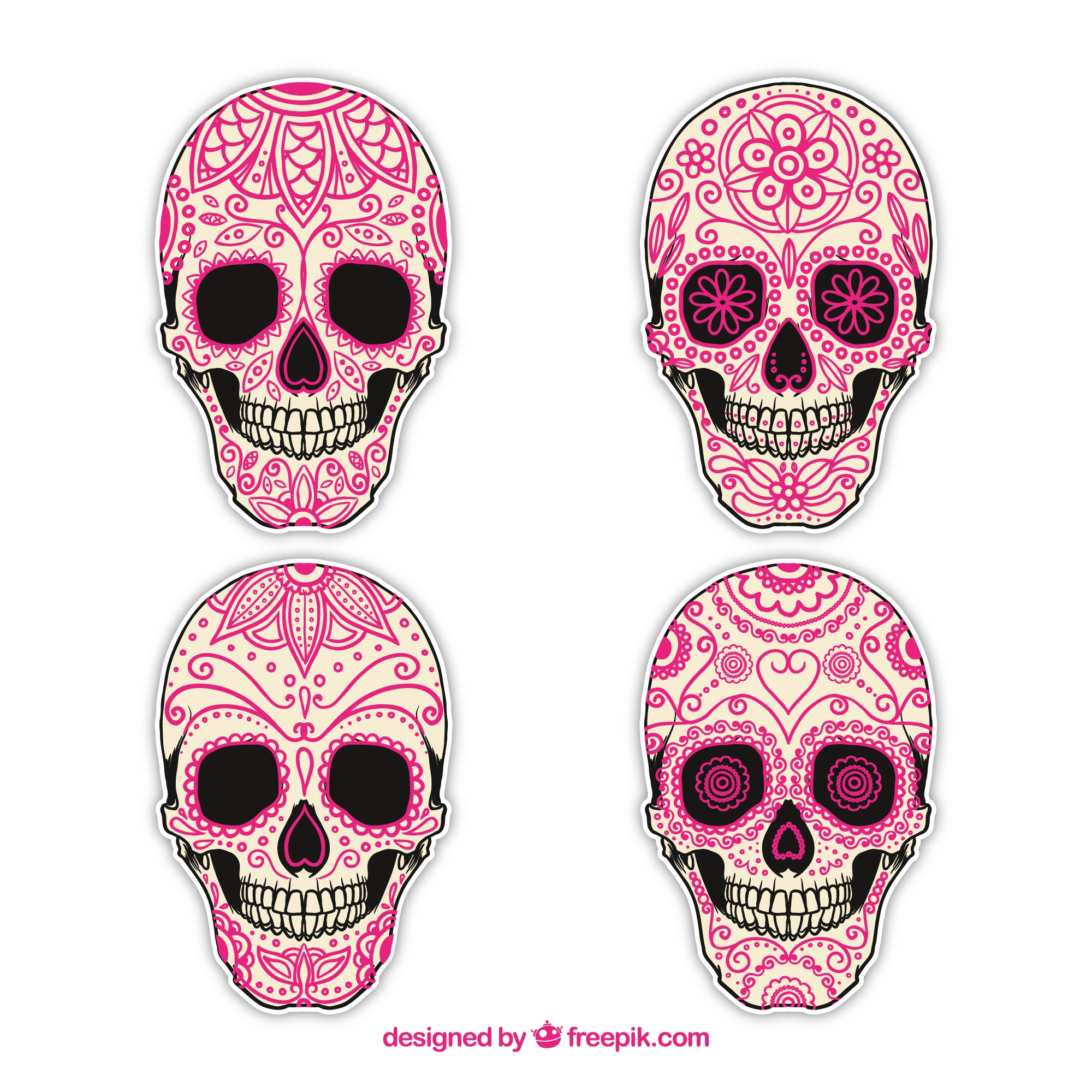 Hand drawn sugar skulls collection
