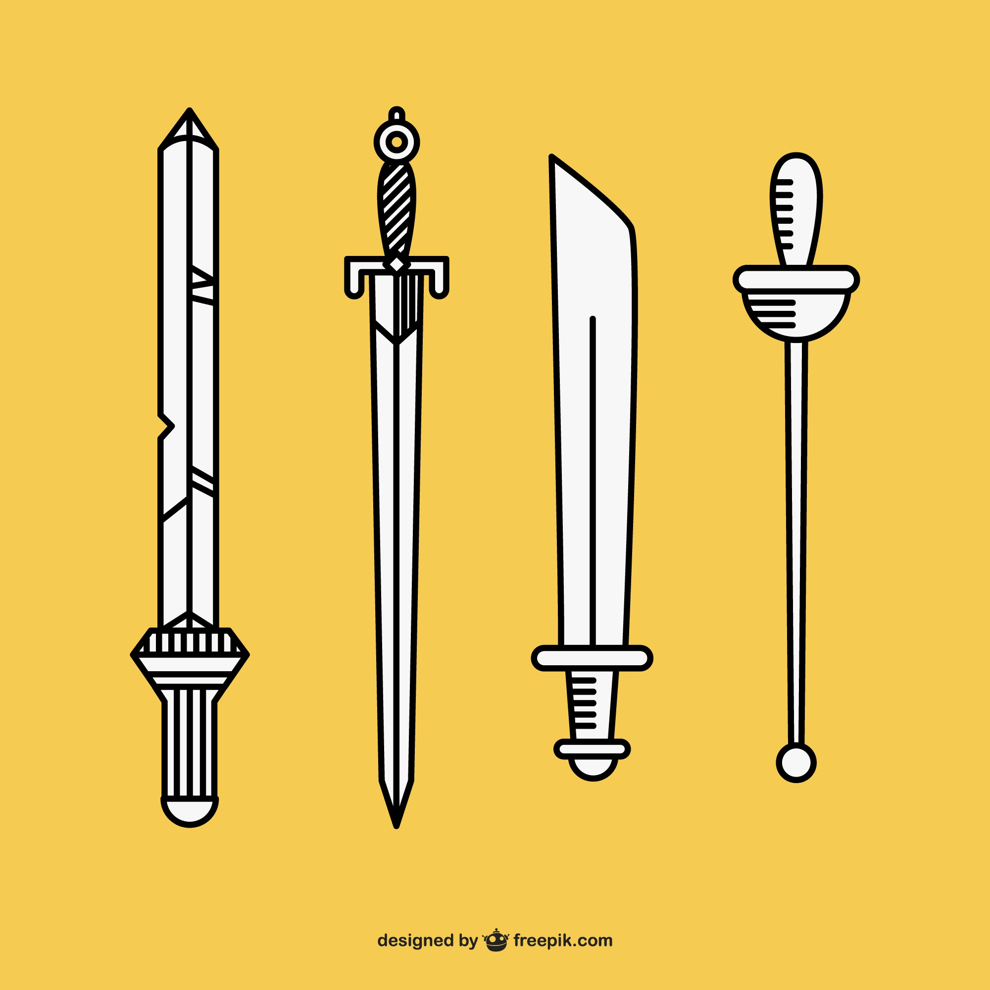 Hand drawn swords vector